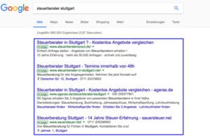 SEA Google AdWords Ergebnisse